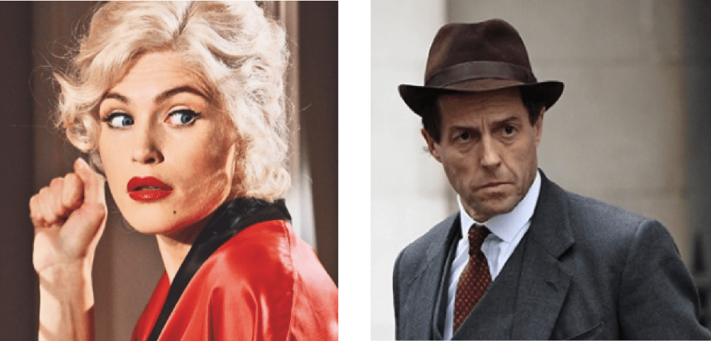 Gemma Atherton as Marilyn Monroe, and Hugh Grant as Jeremy Thorpe